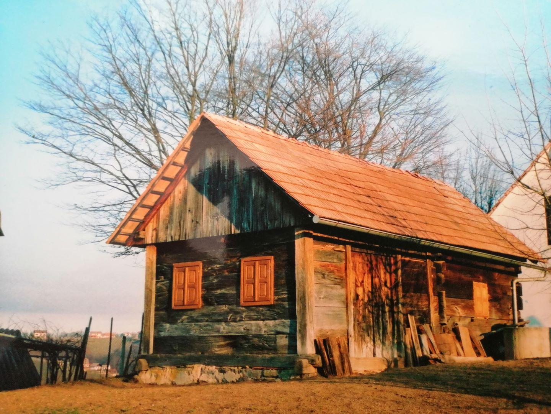 Hiška v naravi stara 100 let s travnikom in gozdom